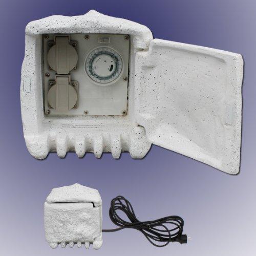 Aussensteckdose Gartensteckdose mit Zeitschaltuhr IP44 / 230V inkl. 5 Meter Zuleitung