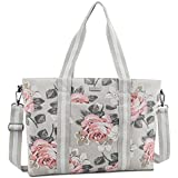 Mosiso Laptop Tote Bag (Up to 17.3 Inch), Canvas Classic Rose Multifunctional Work Travel Shopping Duffel Carrying Shoulder Handbag for Notebook, MacBook, Ultrabook and Chromebook Computers, Gray