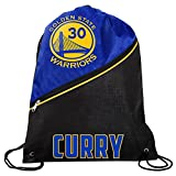 Golden State Warriors Official NBA High End Diagonal Zipper Drawstring Backpack Gym Bag - Stephen Curry #30