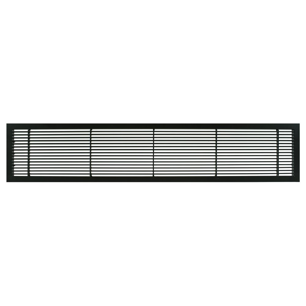 Architectural Grille 100041204 AG10 Series 4'' x 12'' Solid Aluminum Fixed Bar Supply/Return Air Vent Grille, Black-Matte