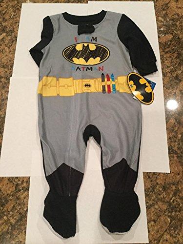DC Batman Boys One Piece Bodysuit Pajamas with Footies,Multi-color,9 Months