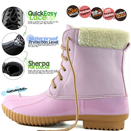 DailyShoes Frauen Warm Schnee Booties Up Knöchel High Cashmere Kragen Ente Padded Mud Gummi Regen Stiefel Rosa