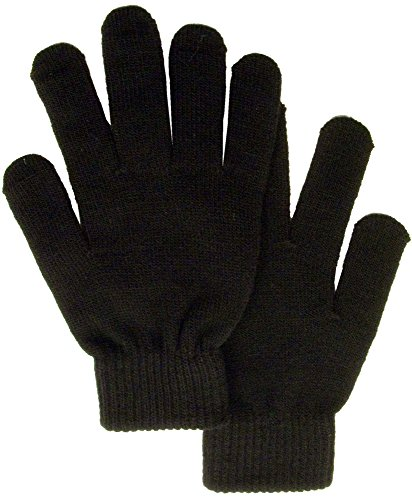 Men / Women's Winter Knit Solid Color Gloves Magic Gloves, Black (Gloves 1 Magic)