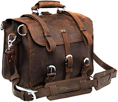 Polare Men's Top Quality Full Grain Leather 16 Briefcase Shoulder Messenger Bag Fit 15.6 Laptop