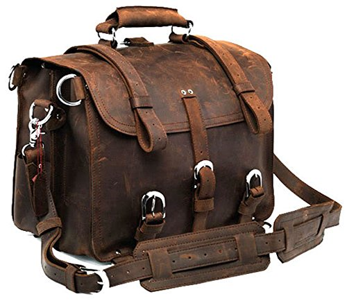 Polare Men's Top Quality Full Grain Leather 16'' Briefcase Shoulder Messenger Bag Fit 15.6'' Laptop