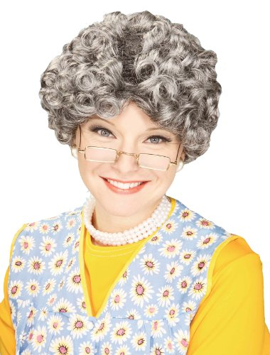 Forum Novelties Women's Yo Momma Curly Costume Wig, Gray, One (Old Granny Costume)