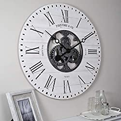 FirsTime & Co. 31063 Shiplap Gears Wall Clock, 27, Aged White