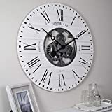 FirsTime & Co. 31063 Shiplap Gears Wall Clock, 27', Aged White