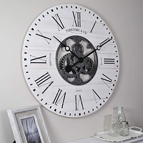 FirsTime Co. 31063 Shiplap Gears Wall Clock, 27 , Aged White