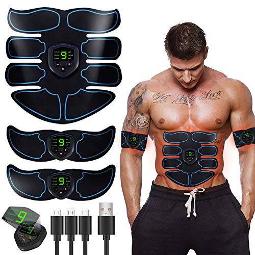 BLUE LOVE Gubana ABS Stimulator Muscle Toner, Abdominal Toning Belt Muscle Smart EMS Body Trainer, USB Rechargeable LCD Display 6 Modes & 9 Levels Wireless Portable Unisex Fitness Training Fat Burnin