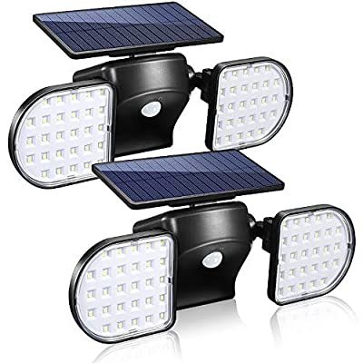 Solar Lights Outdoor, YUJENY 56 LED Waterproof Solar Powered Wall Lights with Dual Head Spotlights 360-Degree Rotatable Solar Motion Security Night Lights for Outdoor Pation Yard Garden (2 Pack)