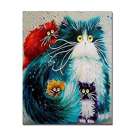 WACYDSD DIY Pintura Al Óleo por Números Kits Dibujo Gato Blanco Cuadros Abstractos Coloridos Animales para Colorear sobre Lienzo Inicio Decoración De La ...