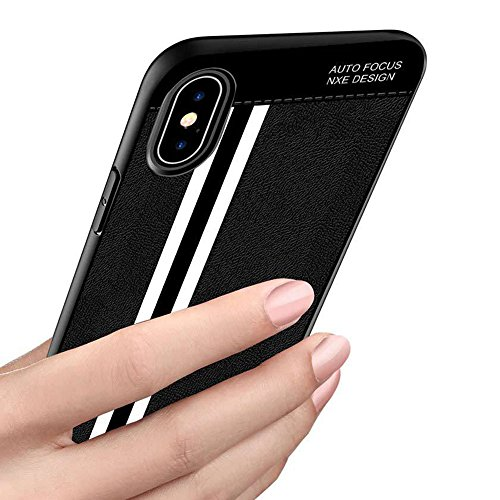 Stripe Matte (Xphone X Case,eaLAB Compatible with iPhone X Cover Matte for Women Men iPx Luxury Cases I Phone 10 Protection Shell Bumper (Black))