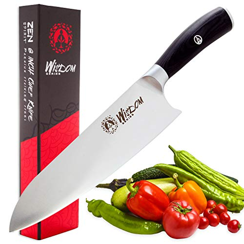 Chef Knife - Professional 8 Inches, High Carbon Stainless Steel, Ultra Sharp and Ergonomic Handle Perfect for Chopping, Slicing, Dicing & Mincing. Wisdom Series Kitchen Knife by Zen Spirit