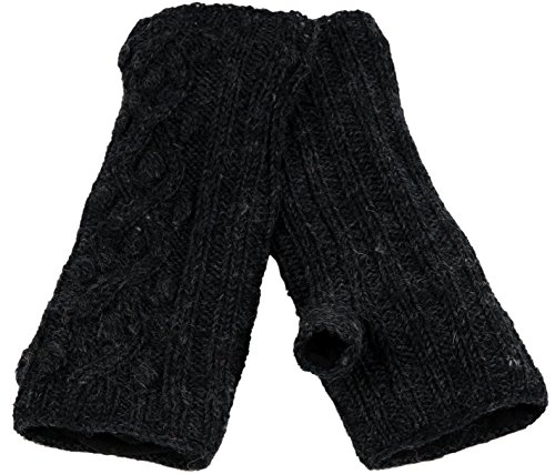 Nirvanna Designs MT70 Ball Knit Cable Hand Warmers, Charcoal