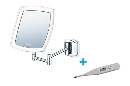 Beurer BS89 Espejo Cosmetico con Brazo Extensible y Luz LED + Termometro digital de regalo