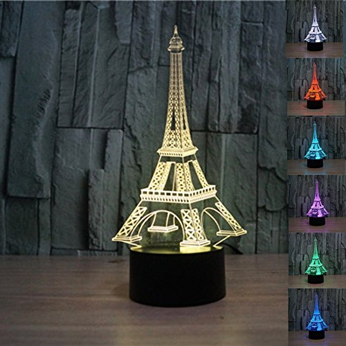 Romantic France Eiffel Tower 3D Night Light LED illusion Lamp 7 Color Touch Switch Table Desk Lamp for Kids Gifts