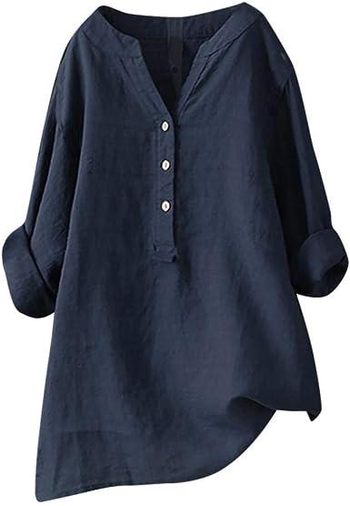 VJGOAL Camisas para Mujer en Cuello en V Color Sólido Casual ...