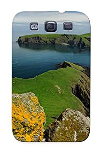 Galaxy S3 Hard Back With Bumper Silicone Gel Tpu Case Cover Birds Puffin Islands