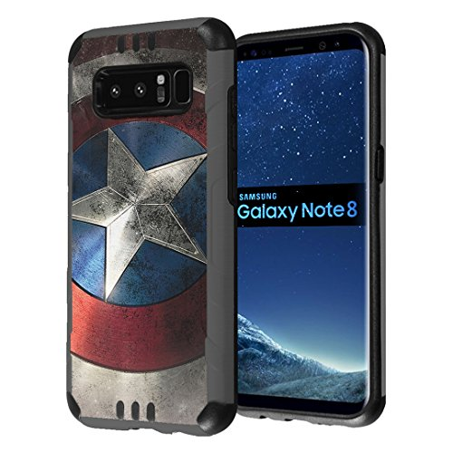 Galaxy Note 8 Case, Capsule-Case Hybrid Dual Layer Slim Defender Armor Combat Case (Dark Grey & Black) Brushed Texture Finishing for Samsung Galaxy Note8 SM-N950 - (Rock Star) (Guardians Of The Galaxy Captain America Shield)