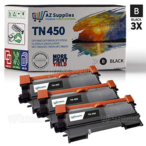AZ Supplies Compatible Toner Cartridge Replacement for Brother TN450-3 Pack (3 Black)