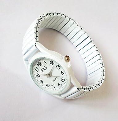 Montre blanche aiguilles quartz acier bracelet élastique femme