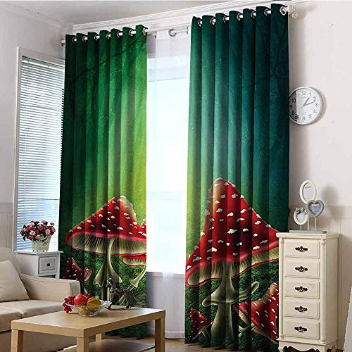 VIVIDX Curtains for Living Room,Red Green Mushroom,Blackout Window Curtain 2 Panel,W72x108L Red Green Beige