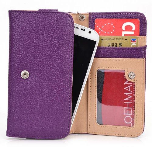 Women's Wallet Clutch Wrist-let fits Yezz Andy A5 Mobile Phone Cover Bag - PURPLE. Bonus Ekatomi Screen Cleaner