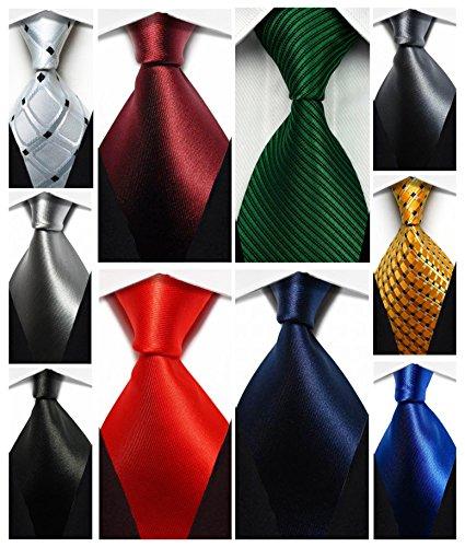 Wehug Lot 10 PCS Classic Men's tie 100% Silk Tie Woven Jacquard Neckties Solid Ties for men (Solid Color Tie)