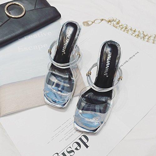 alto y color de con cm transparente de de Suhang dorado Sandalias dos campo sándalo con plateado 8 de zapatillas plata tacón de cinta gTxRx8Uw5q