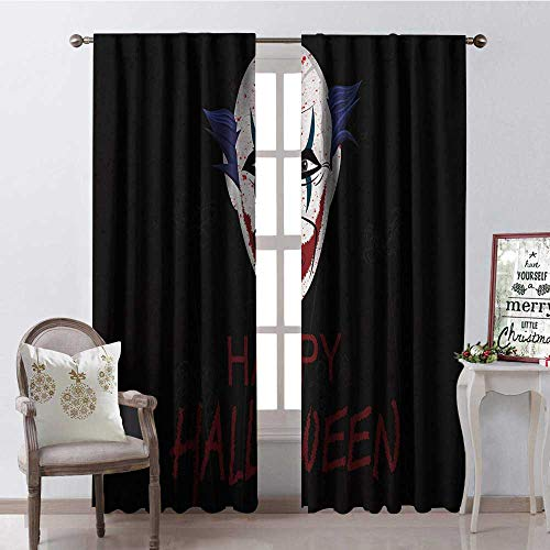 Hengshu Halloween Style Scary Clown Blackout Window Curtain Customized Curtains W120 x L108