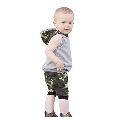 0b8c6e025a5f Amazon.com  Minisoya Summer 2Pcs Infant Baby Boys Girls Sleeveless ...