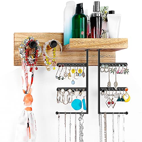 Jewelry Organizer Wall Mounted Rustic Wood Hanging Jewelry Holder Display with Large Capacity for Necklaces Bracelet Earrings Ring, Carbonized Black