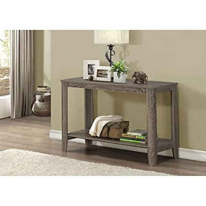 Monarch Specialties Dark Taupe Reclaimed Look Sofa Console Table