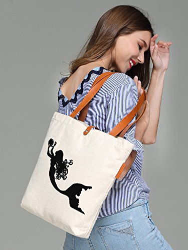 So'each Women's Marine Mermaid Graphic Top Handle Canvas Tote Shoulder Bag