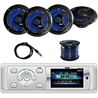 Pyle PLMR15BW Bluetooth Marine Stereo Radio Receiver with Pyle 6.5 WP Marine Speakers with Built-in Multi-Color LED lights(2-Pairs), Enrock Marine Antenna & Enrock Marine 50 16G Speaker Wire