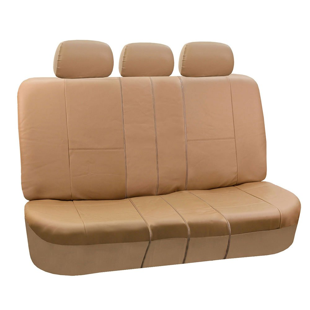 FH Group PU002TAN013 Tan Faux Leather Split Bench Car Seat Cover