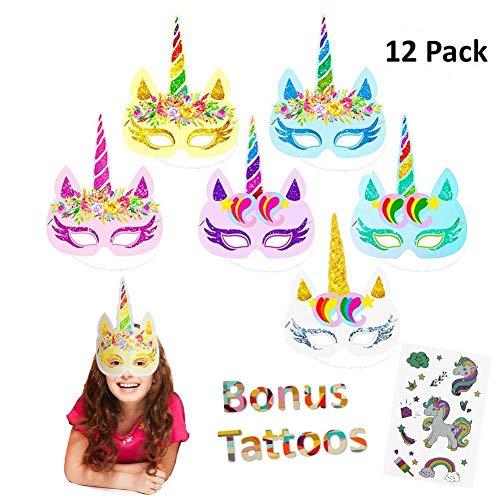 Jatidne12pcs Rainbow Unicorn Mask Kids Birthday Unicorn Party Favors with Extra Unicorn Temporary Tattoos ()