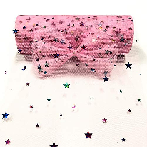 Pandahall 1Roll/10Yards Tulle Fabric Roll Spool Star/Moon Sequin Netting Fabric Roll for Skirt Sewing Making Fashion Home Decor Craft Wedding Party Supply 6 Inch x 10 Yards Each (Pearl Pink)