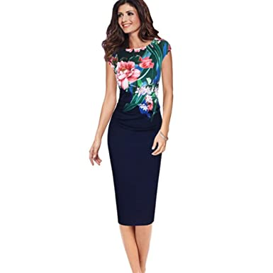 6f0b3f066fe87 Formal Business Dresses For Women Sleeveless Round Neck Office Dress  Printing Gown S Navy