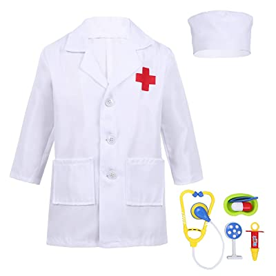 Alvivi Kids Boys Girls Lab Coat Doctor/Nurse Uniform Halloween Outfit Fancy Dress up Costume with Medical Kit: Clothing