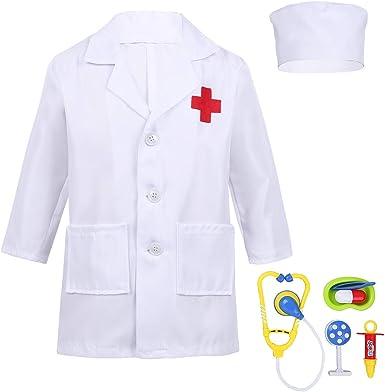 Freebily Niños Niñas Disfraz Bata Blanca/Rosa Manga Larga de Doctor/Enfermera Traje Cosplay para Halloween con Accesorios(Estetoscopio+Jeringa etc.): Amazon.es: Ropa y accesorios