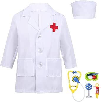 TiaoBug - Disfraz de enfermera y accesorios para Halloween, cosplay, camisa blanca y rosa para niños y niñas, unisex, fiesta de carnaval, disfraz de regalo Bianco 7-8 Años: Amazon.es: Ropa y accesorios