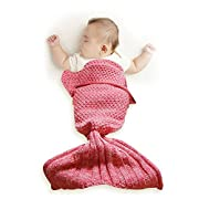 Funwill Mermaid Tail Blanket Knit Crochet for Baby Swaddling Sleeping Bag , for Baby Photo Photography (Pink) 35.4inx19.6in