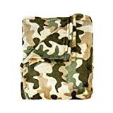 Cozy Bed Super Soft Camoflauge Throws CFThrowCamoGreen, 50x60, Green
