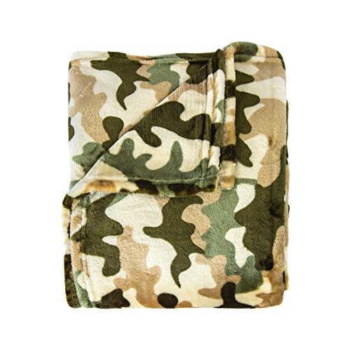 Cozy Bed Super Soft Camoflauge Throws CFThrowCamoGreen, 50x60, Green (Camouflage Blanket Fleece)