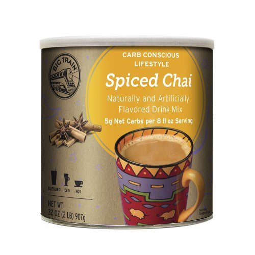Big Train Carb Conscious Drink Mix Spiced Chai 2 Lb (1 Count) Low Carb Powdered Instant Chai Tea Latte Mix, Spiced Black Tea with Milk, For Home, Café, Coffee Shop, ()