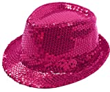 B&S Trendz Men's Fedora Trilby Gangster Sequin Hat Glittery Jaz Cap Hiphop One Size Pink