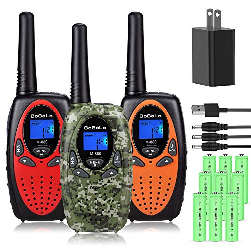 Bobela Walkie Talkies for Kids Rechargeable with Charger and Battery, 22 Channels Long Range 2 Way Radio Walky Talky for Adults and Kids, Easy Use for Cruise Ship, Traveling, Camping, Hiking(3 Pack)