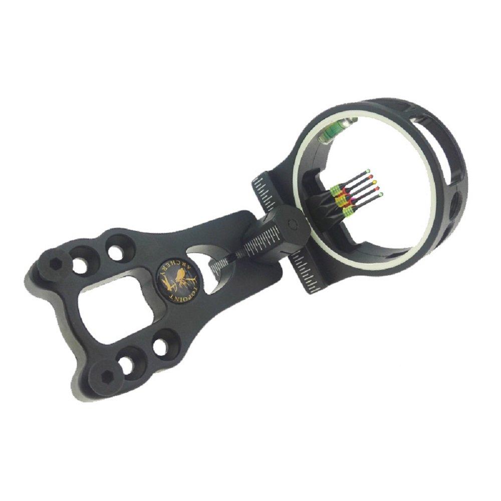 "ZSHJG Archery Bow Sight 5 Pin 0.029"" Fiber With Light Compound Bow Archery Accessory"
